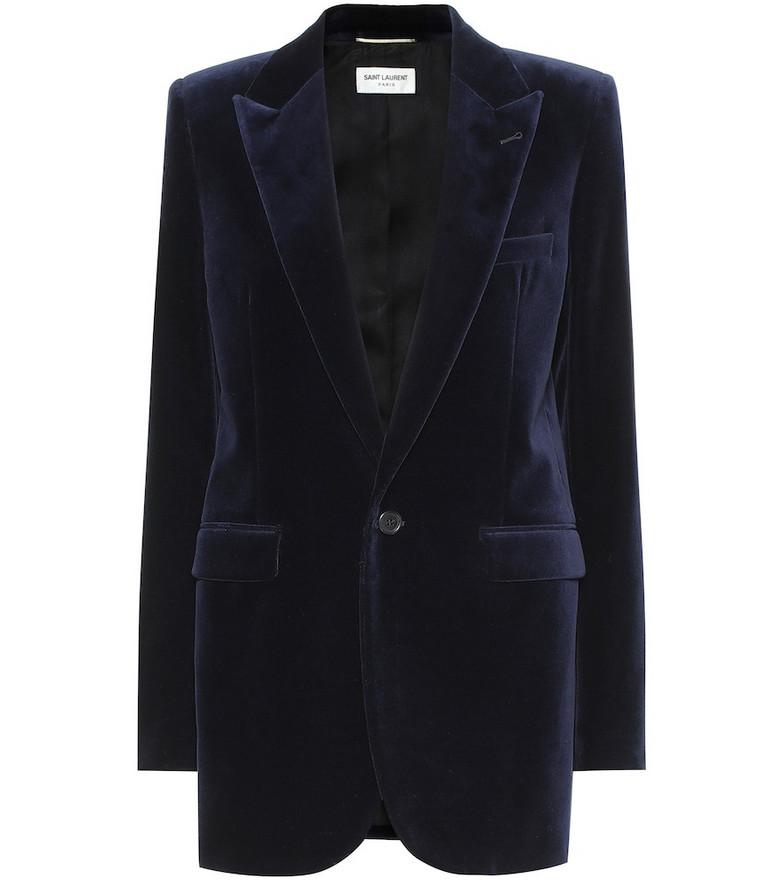 Saint Laurent Cotton velvet blazer in blue