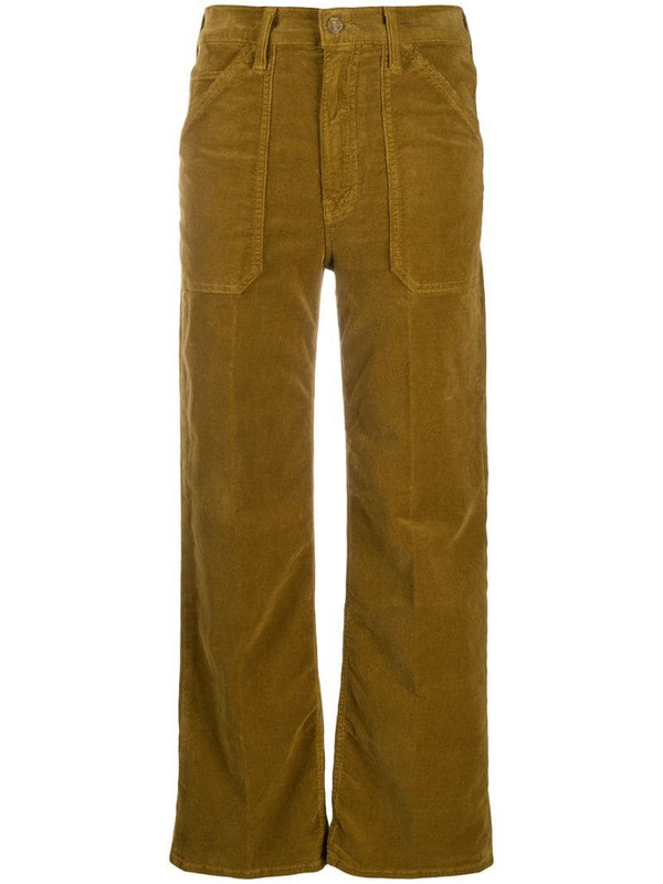 Mother straight corduroy trousers in brown
