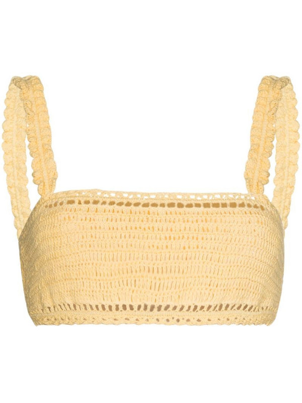 She Made Me cropped ruffled crochet-knit top in yellow