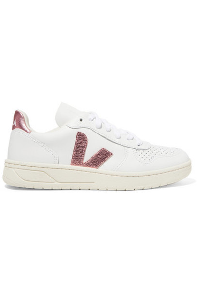 Veja - V-10 Metallic-trimmed Leather Sneakers - White