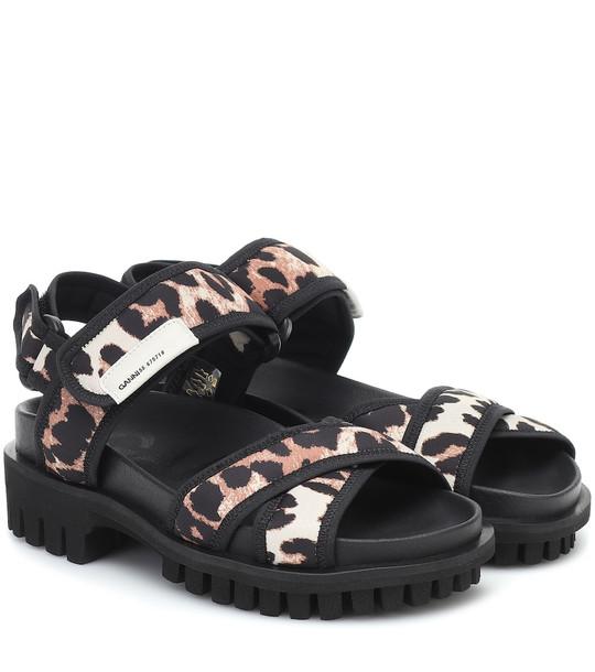 Ganni Leopard-print trekking sandals in black