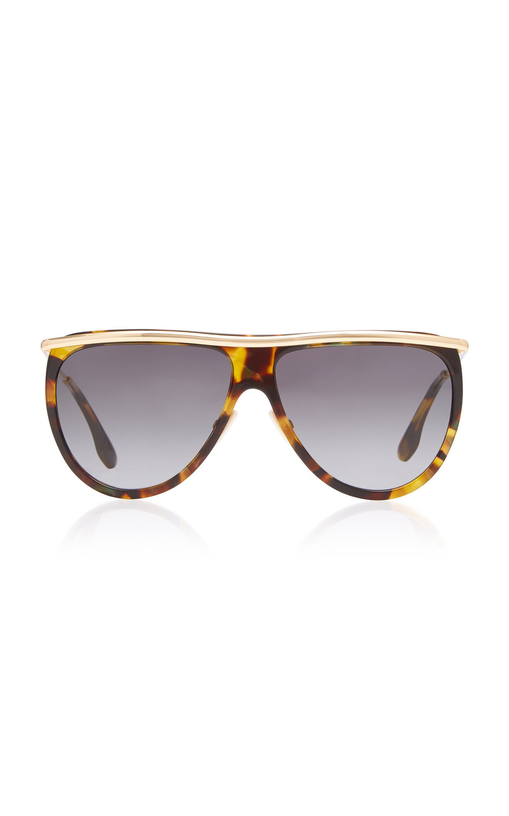 Victoria Beckham Half Moon Aviator-Style Gold-Tone Acetate Sunglasses in brown