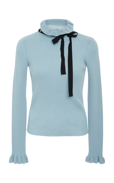 Red Valentino Neck Tie Sweater Size: XS in blue