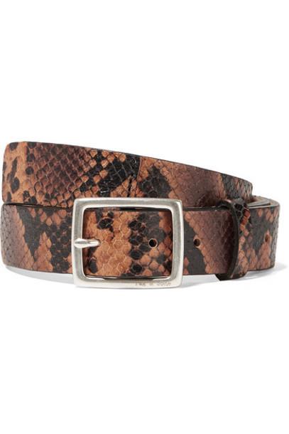 rag & bone - Boyfriend Snake-effect Leather Belt - Brown
