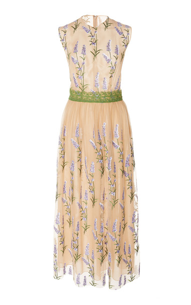 Costarellos Sleeveless Embroidered Sequin Tulle And Lace Trim Dress Si in neutral