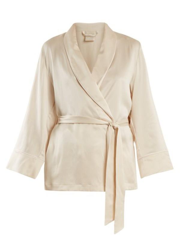 MORPHO + LUNA Morpho + Luna - Amelie Sandwashed Silk Short Robe - Womens - Cream