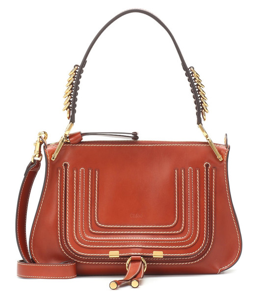 Chloé Marcie Medium leather shoulder bag in brown