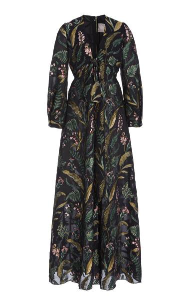 Lela Rose Tie-Detailed Floral Gown in black