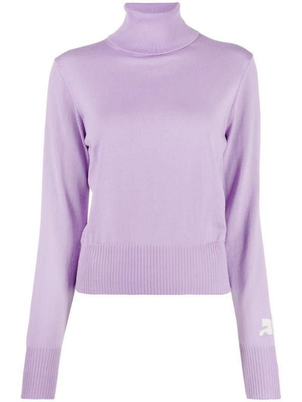 Courrèges sleeve-logo roll neck sweater in purple
