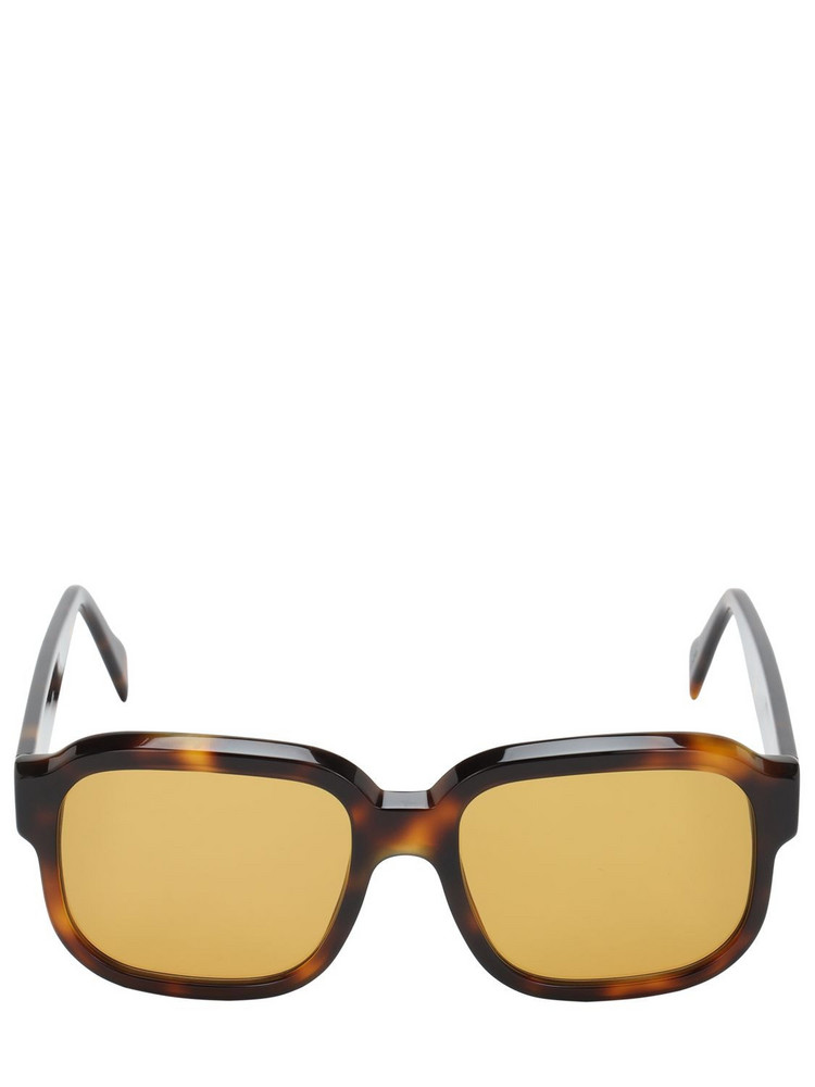 ANDY WOLF John Oversize Squared Acetate Sunglasses in brown / yellow
