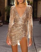 dress,gold sequins party