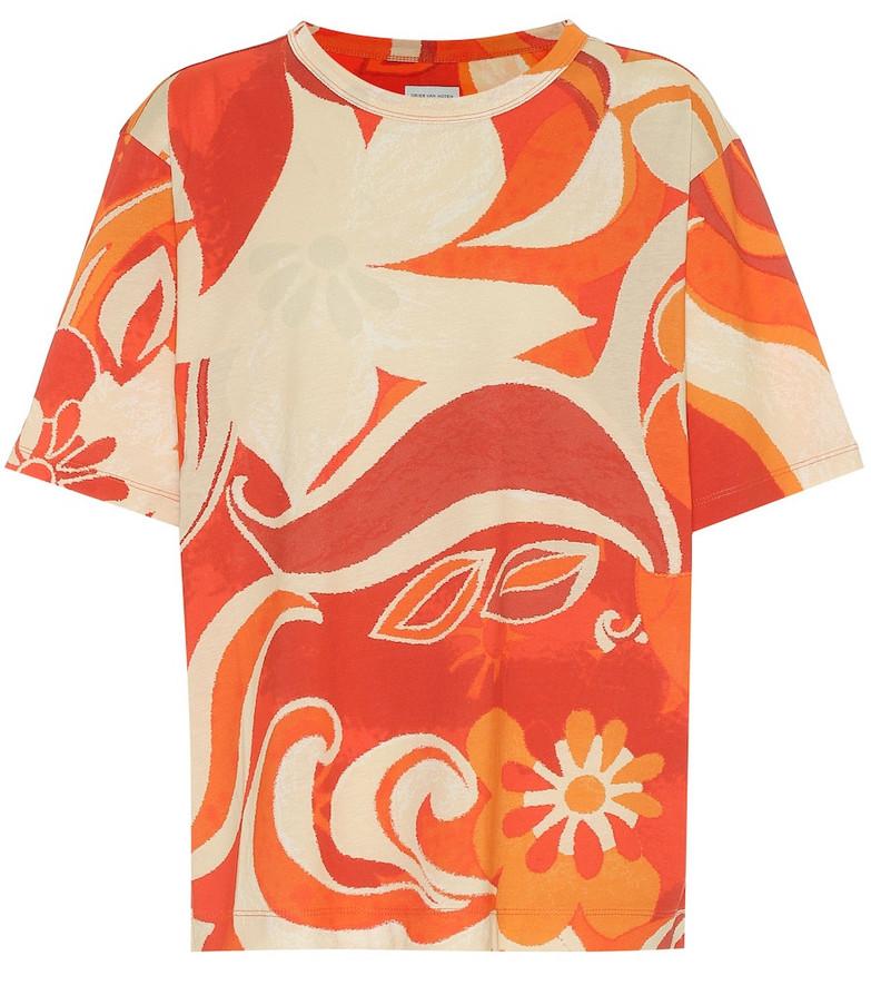 Dries Van Noten Floral cotton T-shirt in orange