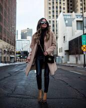 coat,wool coat,camel coat,leopard print,pumps,leather pants,black pants,gucci bag,crossbody bag,black sweater,turtleneck sweater