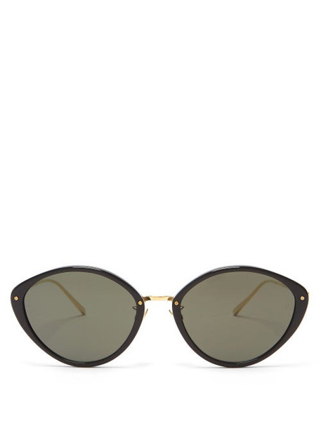Linda Farrow - Lucy Cat-eye Acetate Sunglasses - Womens - Black Gold