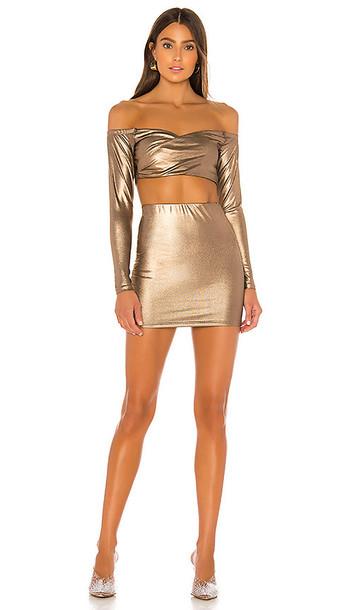 superdown Ira Off Shoulder Mini Skirt Set in Metallic Bronze