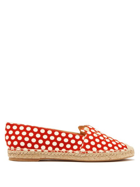 Charlotte Olympia - Kitty Polka Dot Canvas Espadrilles - Womens - Red White