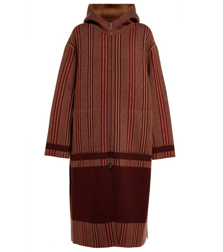 Loro Piana Castiglioni reversible cashmere knit coat in red