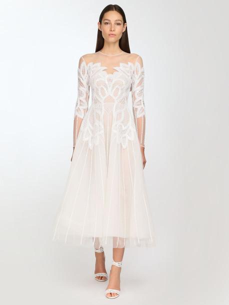 ZUHAIR MURAD Embellished Tulle Midi Dress in white