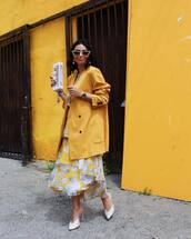 skirt,maxi skirt,floral skirt,layered,mules,yellow coat,oversized coat,top,set