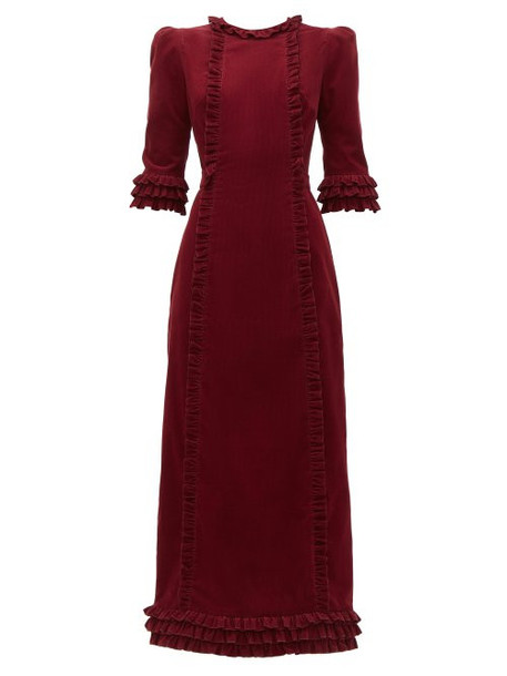 The Vampire's Wife - Cate Ruffle Trim Corduroy Cotton Midi Dress - Womens - Burgundy