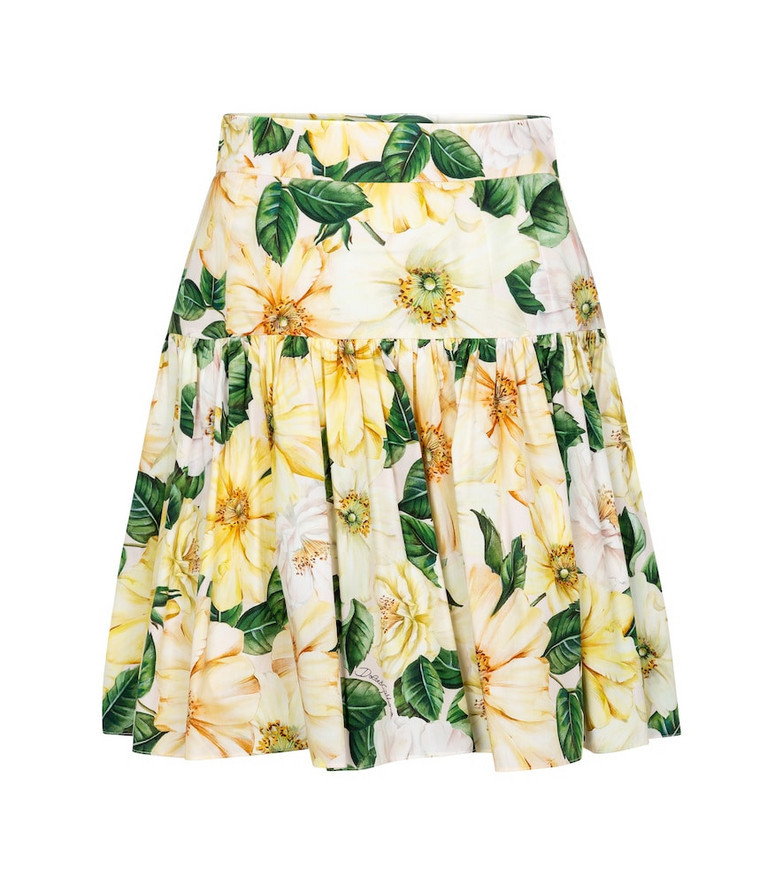 Dolce & Gabbana Floral cotton poplin miniskirt