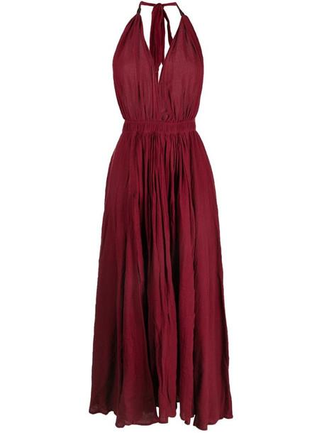 Caravana long halterneck cotton-blend dress in red