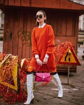 sweater,orange sweater,knee high boots,white boots,pink bag,J.W.Anderson bag,white shirt