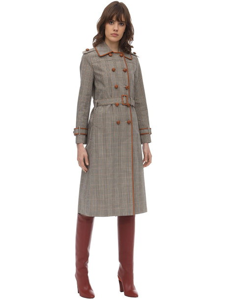 TORY BURCH Plaid Bonded Cotton Trench Coat in brown / multi