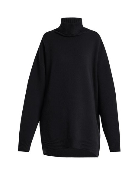 Raey - Displaced Sleeve Roll Neck Wool Sweater - Womens - Navy