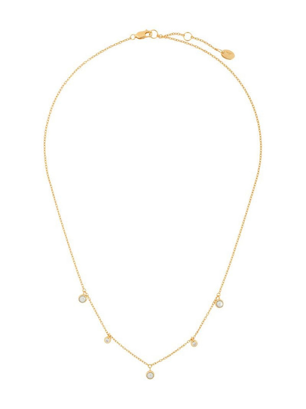 Northskull triple pearl charm necklace in gold