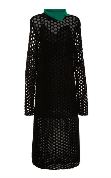 3.1 Phillip Lim Long Sleeve Chunky Open Knit Maxi Dress in black