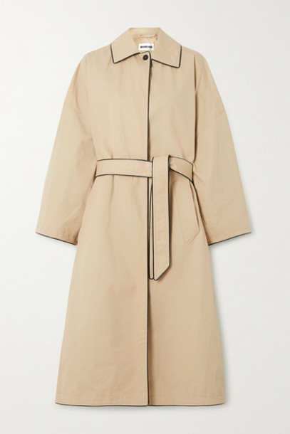 Balenciaga - Faux Leather-trimmed Cotton-gabardine Trench Coat - Beige