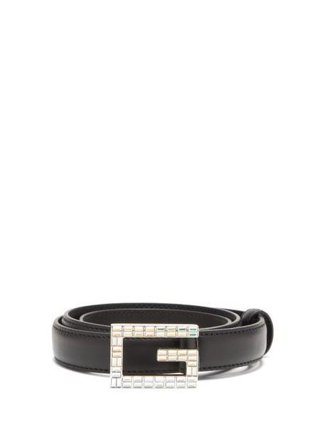 Gucci - G Logo Crystal Embellished Leather Belt - Womens - Black