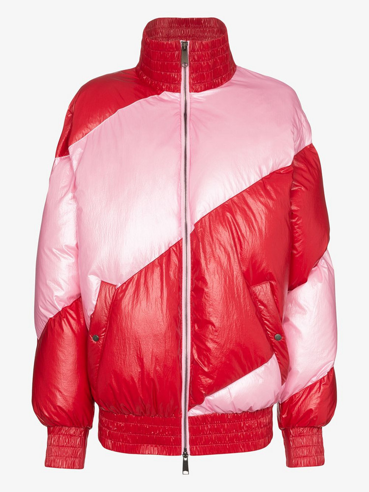 House of Holland Striped oversized puffa jacket in pink