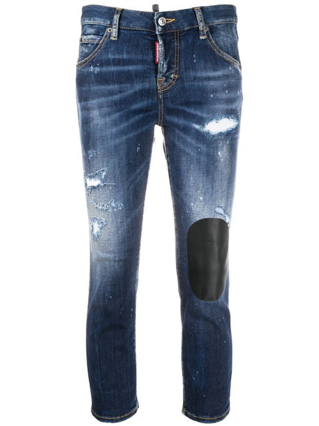 Dsquared2 distressed-effect cropped jeans in blue
