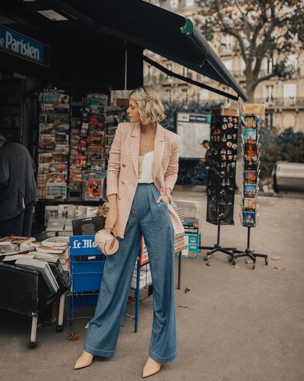 jeans high waisted jeans wide-leg pants boots handbag plaid blazer white top