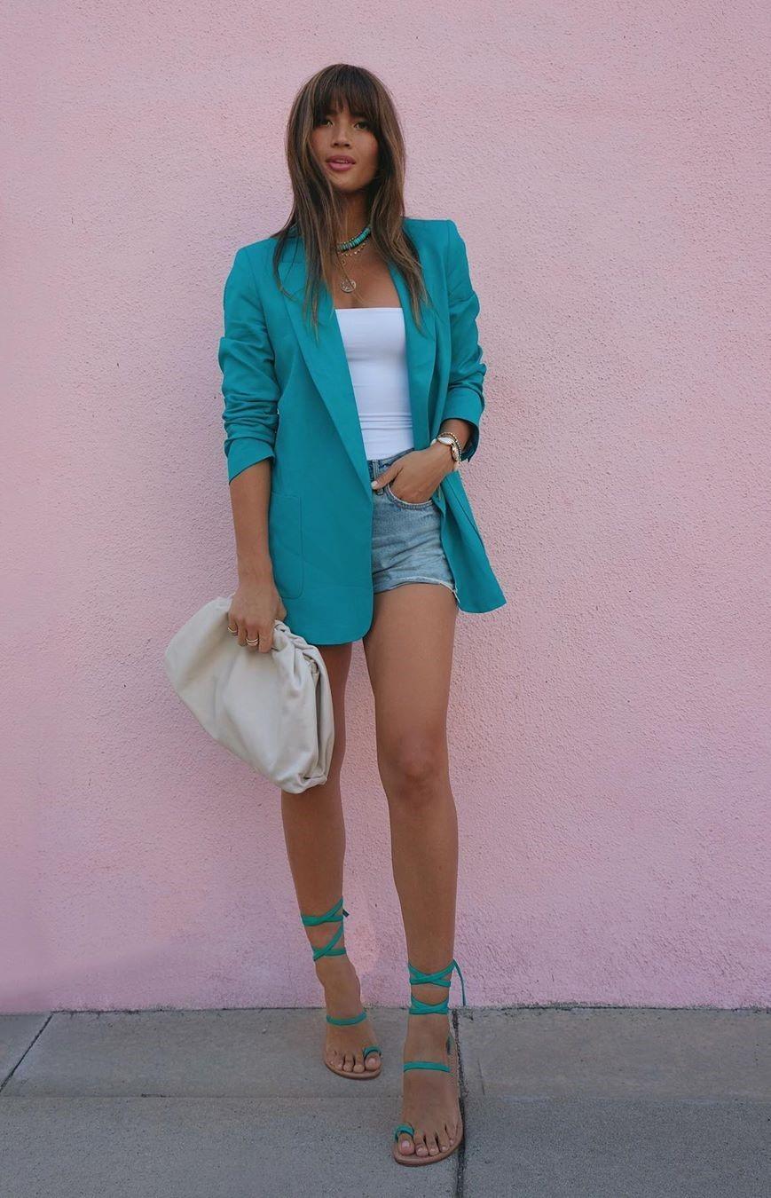 top summer outfits shorts rocky barnes instagram sandals blogger denim shorts jacket blazer zara flat sandals white top white bag