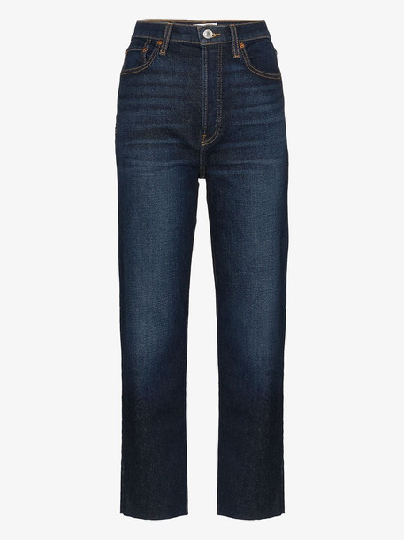 Re/Done stove pipe high waist jeans in blue