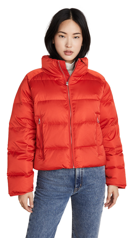 Tory Sport Down Satin Full Zip Cropped Jacket in red