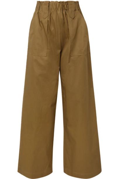 MATIN - Cotton-twill Wide-leg Pants - Army green
