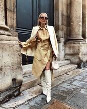 skirt,leather skirt,midi skirt,wrap skirt,high waisted skirt,white boots,heel boots,knee high boots,white bag,handbag,shirt,blazer,sunglasses