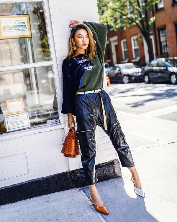 shoes mules bucket bag black pants black vinyl pants sweater