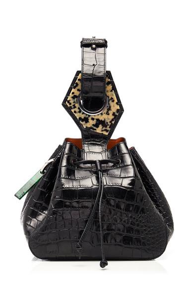 Ganni Resin-Embellished Croc-Effect Leather Bucket Bag in black