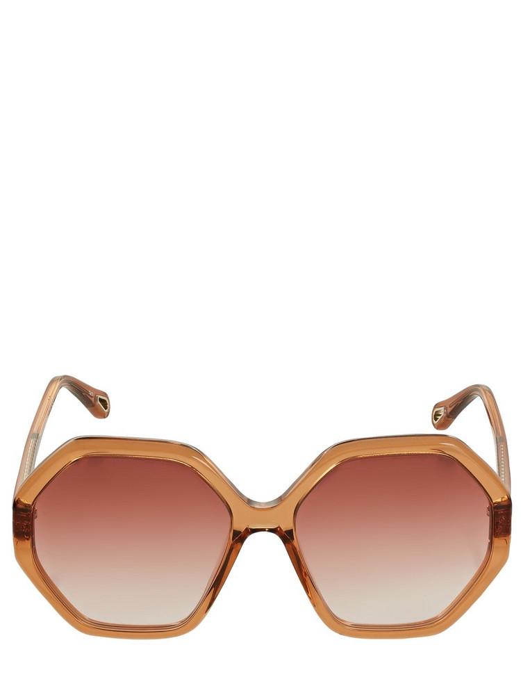 CHLOÉ Esther Geometrical Acetate Sunglasses in orange