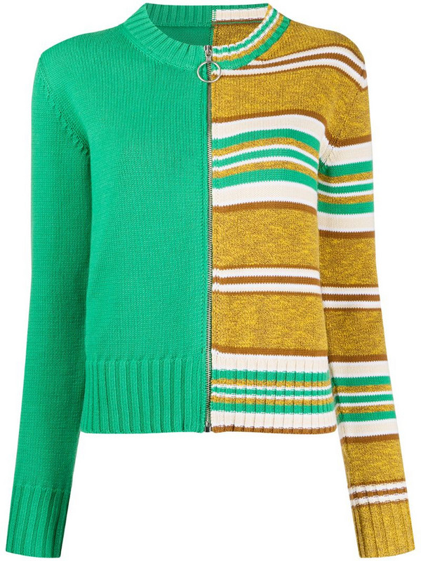 MM6 Maison Margiela knitted striped cardigan in green