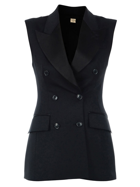 Burberry Double-breasted Jacket Without Sleeves in black