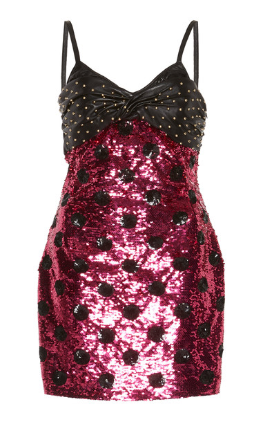 Dundas Stud Embellished Mini Dress in pink