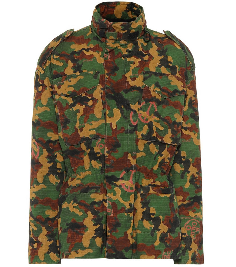 Off-White Camouflage cotton jacket in green