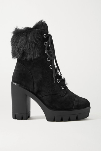 Giuseppe Zanotti - Shearling-trimmed Suede Platform Ankle Boots - Black