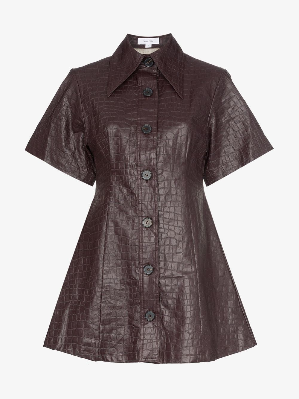 Beaufille Piper crocodile-embossed faux leather shirt dress in purple